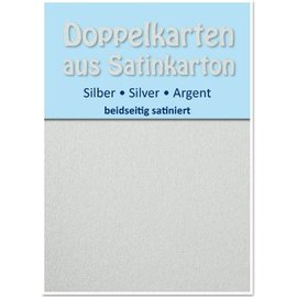 KARTEN und Zubehör / Cards 10 Satin double cards A6, silver, satin finish on both sides