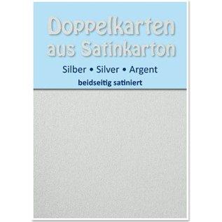KARTEN und Zubehör / Cards 10 Satin dubbele kaarten A6, zilver, satijn afwerking aan beide zijden