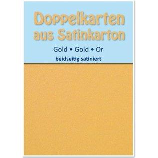 KARTEN und Zubehör / Cards 10 Satin dubbele kaarten A6, goud, satijn aan beide zijden