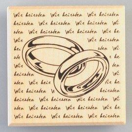 Stempel / Stamp: Holz / Wood Houten tempel ringen met handtekening, 60 x 60 mm