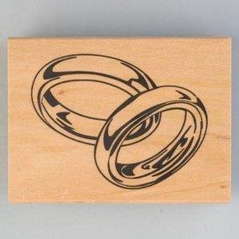 Stempel / Stamp: Holz / Wood Timbre en bois, anneaux de mariage, 40 x 60 mm
