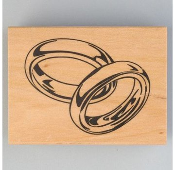 Stempel / Stamp: Holz / Wood Houten stempel, trouwringen, 40 x 60 mm