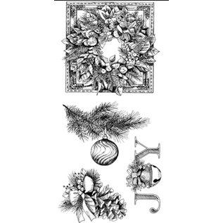 EK Succes, Martha Stewart Transparant stempel, kerstkrans, de ornamenten van Kerstmis