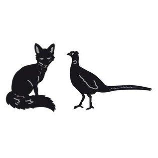 Marianne Design Corte y estampado en relieve plantillas, de pequeños animales, Fox y Faisán