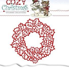 Yvonne Creations Corte y estampado en relieve plantillas, Yvonne Creaciones, corona de Navidad