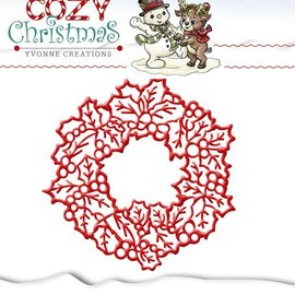 Yvonne Creations Cutting en embossing stencils, Yvonne Creations, kerstkrans