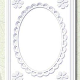 KARTEN und Zubehör / Cards 5 Passepartout tarjetas con escote ovalado y el ajuste del cordón, blanco