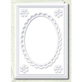 KARTEN und Zubehör / Cards 5 Passepartout cards with oval neckline and lace trim, white