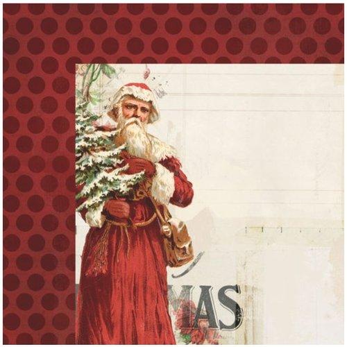 Designer Papier Scrapbooking: 30,5 x 30,5 cm Papier 1 Ontwerper Boog, Vintage Kerstmis, 30,5 x 30,5 cm