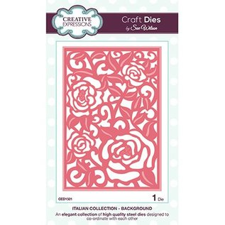 CREATIVE EXPRESSIONS und COUTURE CREATIONS Ponsen en embossing sjabloon achtergrond motief Roses