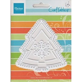 Marianne Design Troquelado y estampado en relieve de la plantilla: Árbol de navidad y copo de nieve