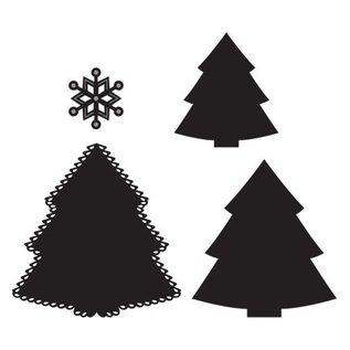 Marianne Design Ponsen en embossing stencil: Kerstboom en sneeuwvlok
