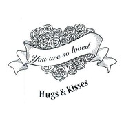 CREATIVE EXPRESSIONS und COUTURE CREATIONS Rubber stamp, roses heart with Label and Text
