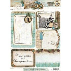 Bilder, 3D Bilder und ausgestanzte Teile usw... Stanzbogen, A4, Projekt Cards: Winter memories, mit 5 Hintergrund Projekt Karten.