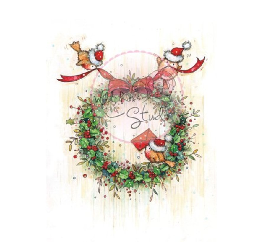 Transparent stamps, Christmas wreath
