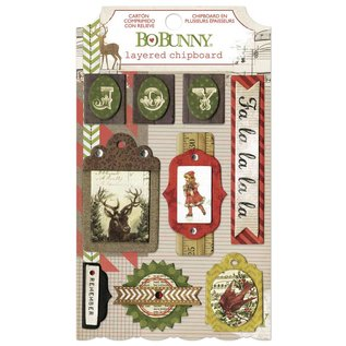 BO BUNNY Bo Bunny, Collection Christmas, 3D stickers chipboard
