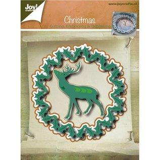 Joy!Crafts / Jeanine´s Art, Hobby Solutions Dies /  Ponsen en embossing sjablonen, kerstkrans en Hirsch