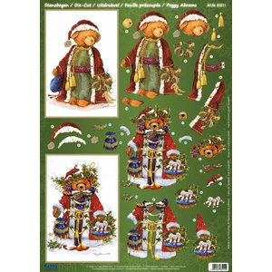 BILDER / PICTURES: Studio Light, Staf Wesenbeek, Willem Haenraets 1 Deluxe Die cut sheets: 3D Die cut sheets, Christmas Bear Vintage.