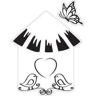 Marianne Design Skæring og prægning stencil + frimærke, fuglehus: fugl