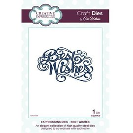 """CREATIVE EXPRESSIONS und COUTURE CREATIONS Cutting en embossing stencils, The Expressions Collection """"Beste wensen"""""""