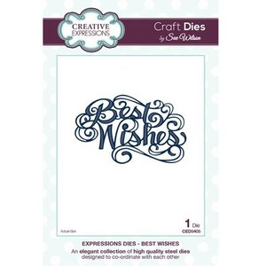 """CREATIVE EXPRESSIONS und COUTURE CREATIONS Cutting and embossing stencils, The Expressions Collection """"Best Wishes"""""""