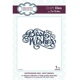 "CREATIVE EXPRESSIONS und COUTURE CREATIONS Cutting and embossing stencils, The Expressions Collection ""Best Wishes"""