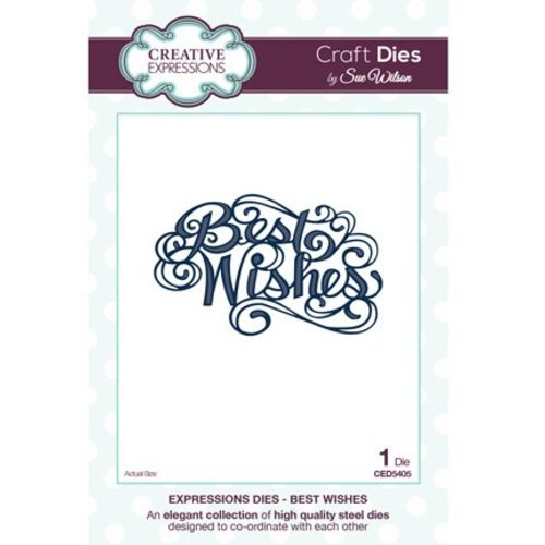 """CREATIVE EXPRESSIONS und COUTURE CREATIONS Skæring og prægning stencils, The Expressions Collection """"Best Wishes"""""""