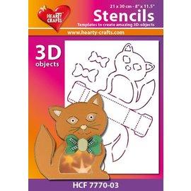 Schablonen, für verschiedene Techniken / Templates Plastic Mask 3D cat, size: 21 x 30 cm