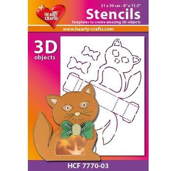 Schablonen, für verschiedene Techniken / Templates Maschera di plastica gatto 3D, formato: 21 x 30 cm