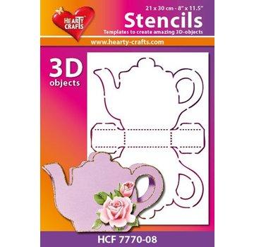 Schablonen, für verschiedene Techniken / Templates Plastik Schablone 3D Kaffee- oder Teekanne, Größe: 21 x 30 cm