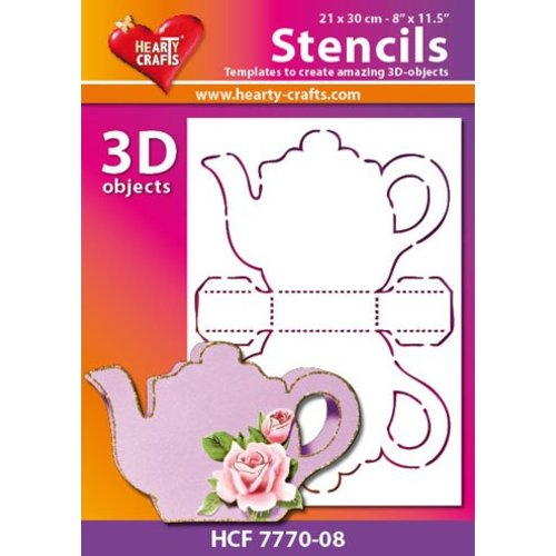 Schablonen, für verschiedene Techniken / Templates Plastic Mask 3D koffie of thee pot, afmetingen: 21 x 30 cm