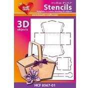 Schablonen, für verschiedene Techniken / Templates Plastik Schablone 3D Korb , Größe: 21 x 30 cm