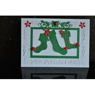 Spellbinders und Rayher Stampen en Embossing stencil, kerst motieven