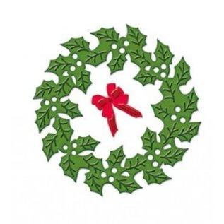 Spellbinders und Rayher Ponsen en embossing stencil De D-Lites, kerstkrans