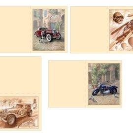 Dekoration Schachtel Gestalten / Boxe ... Kits, hojas cortadas Die 3D para tarjetas 4 hombres vintage, biplano, de la motocicleta + 4 entradas dobles!