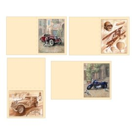 Dekoration Schachtel Gestalten / Boxe ... Kit, 3D fogli Die taglio per schede 4 uomini: vintage, biplano, Motocicletta + 4 doppie biglietti!