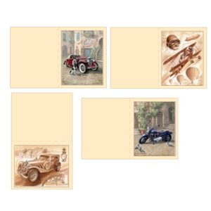 Dekoration Schachtel Gestalten / Boxe ... Kits, 3D Die cut sheets for 4 men Cards: vintage, biplane, Motorcycle + 4 double tickets!
