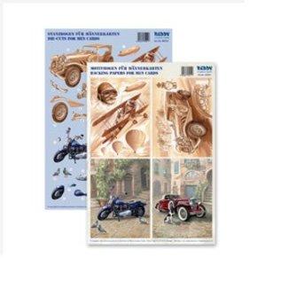Dekoration Schachtel Gestalten / Boxe ... Kits, 3D Die vellen voor 4 mannen Kaarten: wijnoogst, tweedekker, Motorfiets + 4 dubbele tickets!