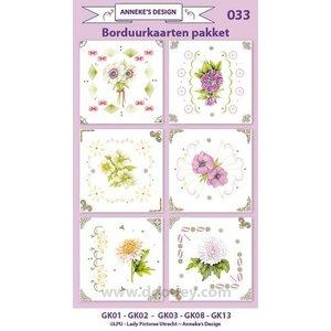 KARTEN und Zubehör / Cards Stickkarten Bastelset, zur Gestaltung von 6 Karten