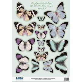 Embellishments / Verzierungen SET avec la feuille de coupe 2 de la filière, avec plus de 30 papillons