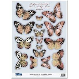Embellishments / Verzierungen To die cut ark, med mer enn 30 sommerfugler