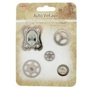 Embellishments / Verzierungen Metal Charms Set Car Vintage, 5 dele