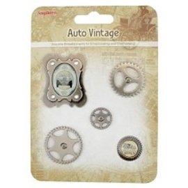 Embellishments / Verzierungen Breloques de métal Set voiture vintage, 5 parties
