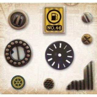 Embellishments / Verzierungen Charms in metallo Set di auto d'epoca, 9 parti