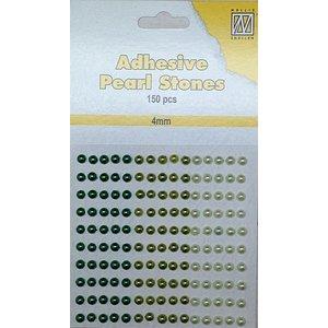 Embellishments / Verzierungen 150 Self-adhesive beads, green