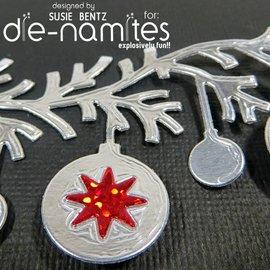 Die-namics Stempelen en embossing stencil, The-namites, kerstbal slinger