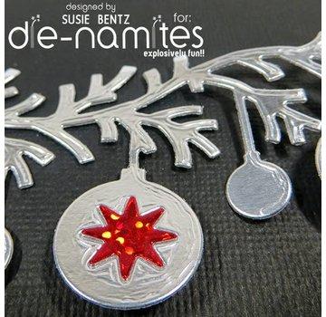 Die-namics Stampaggio e goffratura stencil, I-namites, palla di Natale ghirlanda