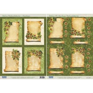 Bilder, 3D Bilder und ausgestanzte Teile usw... 2 Deluxe Stanzbogen: Hintergrund Bilder mit goldenen Rahmen + 3D Stanzbogen