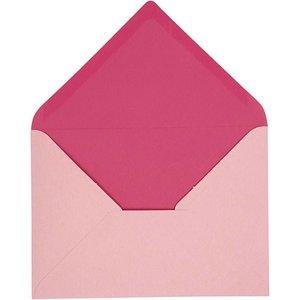 KARTEN und Zubehör / Cards Kuvert, størrelse 11,5x16 cm, pink / pink, 10 stykker