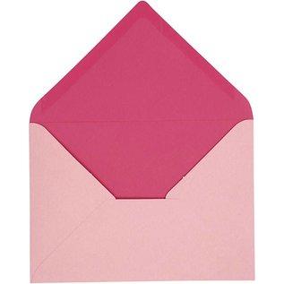 KARTEN und Zubehör / Cards Envelop, grootte 11,5x16 cm, roze / roze, 10 stuks